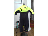 Billabong Kids Foil Back Zip Short Sleeve Spring Boys Wetsuits - Lime for 10's years old.