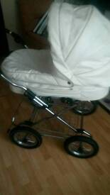 Last chance white leather 3 in 1 pram