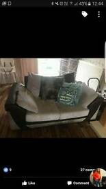 2 and 3 seater faux leather and fabric sofa