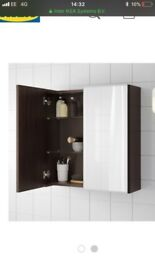 Ikea mirrored bathroom unit, mirror with shelf and tall storage unit