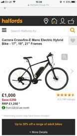 rrera Crossfire-E Mens Electric Hybrid Bike MINT COND.