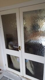 2 x sets wooden glass panelled double/french doors