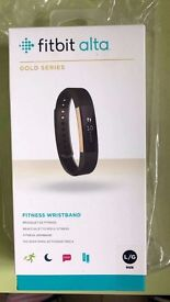 NEW Fitbit Alta Gold Series Activity Tracker (Large) - Black
