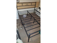 Black Metal Double Bed Frame (4ft6), Like New - Barely Used - Original Packaging