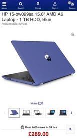 "Brand New HP 15-bw099sa 15.6"" AMD A6 Laptop 1 TB HDD Blue"