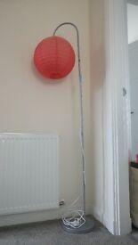 Red paper hanging lantern tall floor lamp
