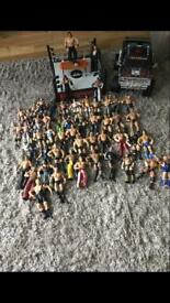 Wrestling figures, ring and truck