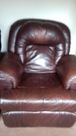 2 Matching Electric Leather Recliners