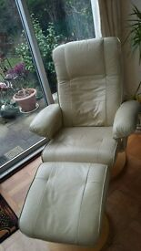 Leather armchair with matching separate foot stool