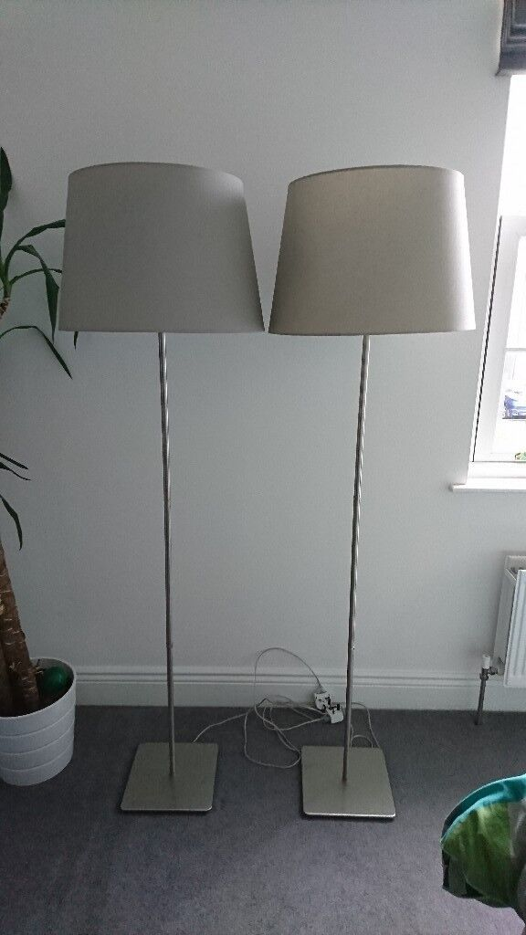 2 X Ikea Hemma Floor Lamp Base Silver Stainless Steel