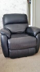 Two Black Leather riser recliners, looking good and feeling comfy. (with foot stool)