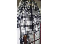 Per Una ladies black and white check coat, UK size 20