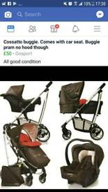 Cossatto buggie/pram comes with car seat frame pram bit and buggie and barskett