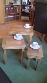Nesting tables - 3 solid oak