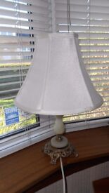 Vintage Table Lamp Cream Shade Green Onyx Marble Gilt Base Shabby Chic