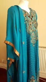 Blue and gold embroidered anarkali 3 piece dress suit.