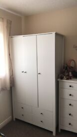 White Triple Wardrobe, 4 Drawers & Shelves