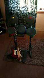 Ps3 Drums, Guitar, pedal and drum sticks