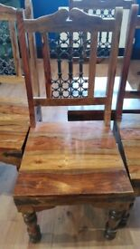 4 outstanding solid heavy oak chairs with cast iron inserts