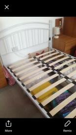 Double Bed white metal frame