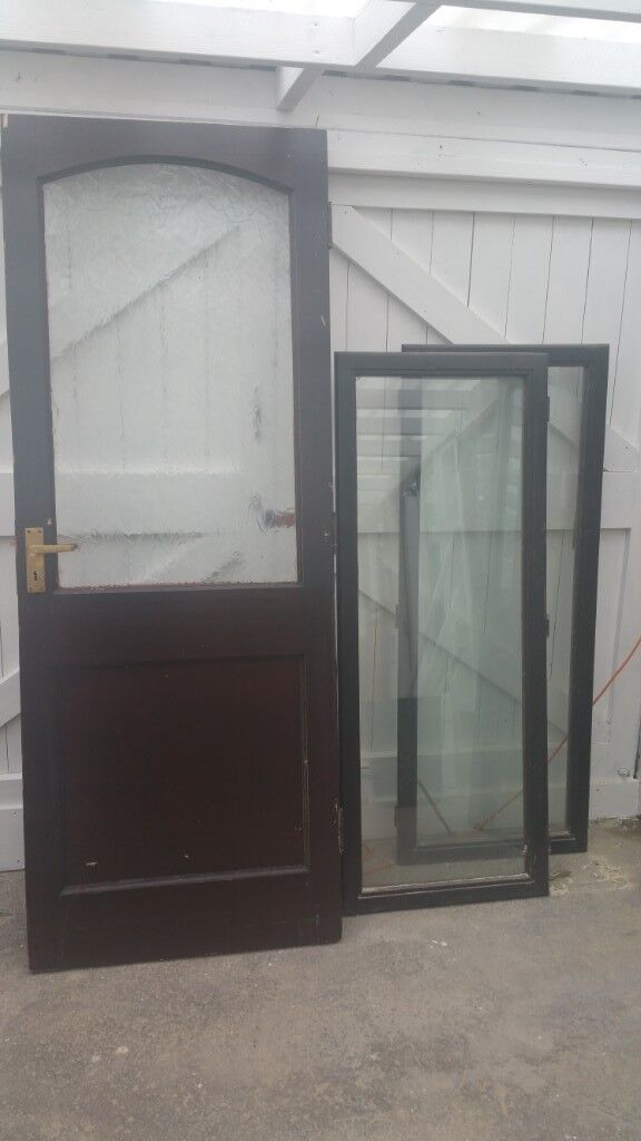 Exterior Hardwood Door And Two Windows Glazed No Frames In Stoke