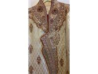 Men Asian wedding outfit, red/cream, sherwani