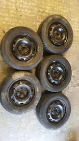 5x100 Set of black steel wheels and tyres for Skoda Fabia SEAT Arosa VW Polo
