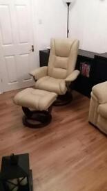 Recline leather swivel chair