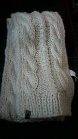 North Face Cable Cream Knit Scarf