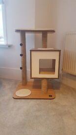 Modern walnut cat furniture tree