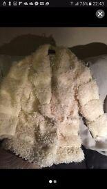White glamarous striped teddy fur coat. Size 12uk