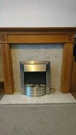 Electric fire, marbe hearth, wood surround