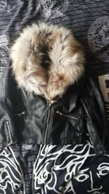 River island fur jacket age 9