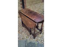 Free standing oak folding table