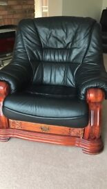 Great quality vintage three-seater leather sofa and two matching singles chairs