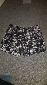 H&M black floral shorts