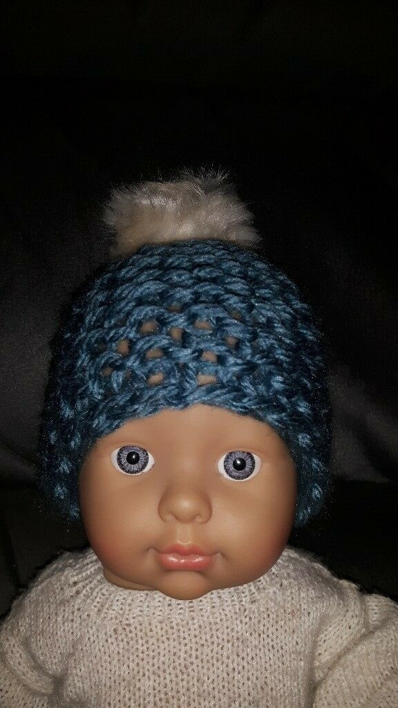 Handmade knitted small baby bobble hat