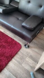 *Dark Brown Leather Sofa Bed*