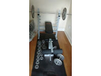 weights bench, bars and weights