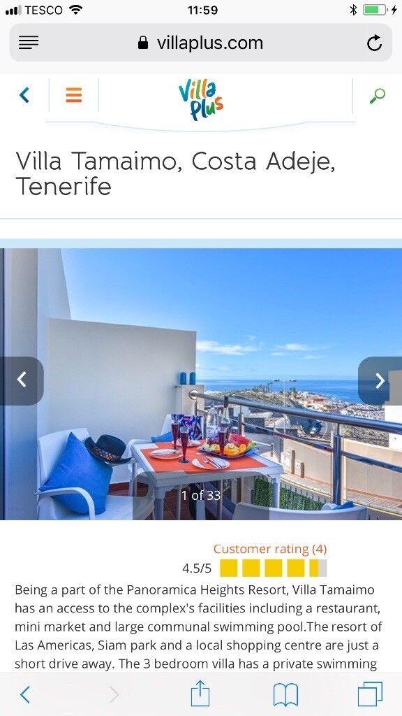 Villa/flight deal Tenerife