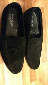 Mens black loafers river island size 46 (10.5)