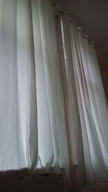 3m long Ikea Merete White Curtains 2 pairs