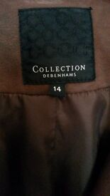 Debenhams collection brown faux leather Jacket (size 14).