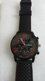 Quartz Analog sports watch with silicon strap and stainless Steel back