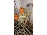 Wooden Flower pot man climbing a ladder, solar light