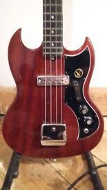 Vintage 70s Kay KB1 Shortscale Bass SG