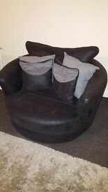 DFS Sofa and Swivel Chair- black/grey