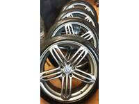 "SET OF 20"" VW / AUDI ALLOYS MINT COND WITH GOOD 245 40 20 MATCHING TYRES (TYRE SIZE CAN B CHANGED)"