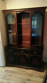 Dresser with glass doors for display and table, four chairs