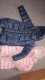 Next Girls Pink and Navy Padded Jacket. Age 8 years. Very good condition .